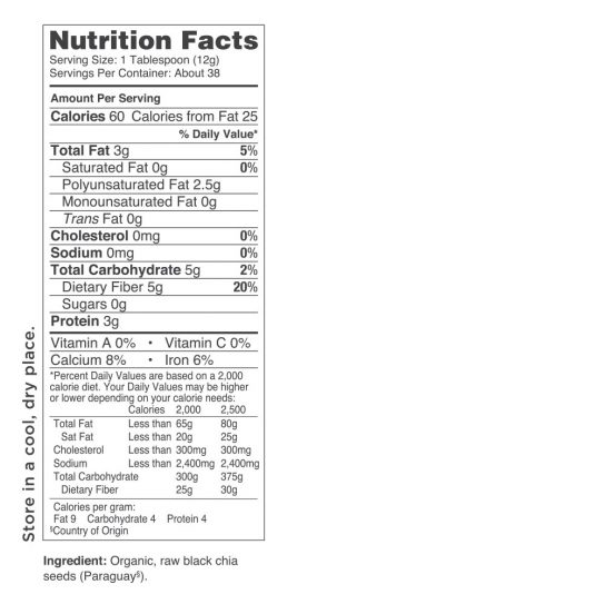 Activz Chia Seed Nutritional Information
