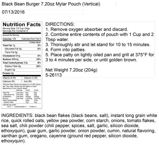 Black Bean Burger Pouch Nutritional Information