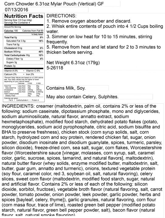 Corn Chowder Pouch Nutritional Information