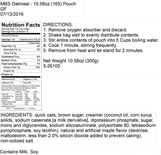 Maple Brown Sugar Oatmeal Pouch Nutritional Information