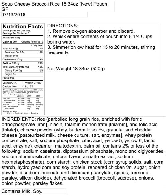 Cheesy Broccoli Rice Pouch Nutritional Information