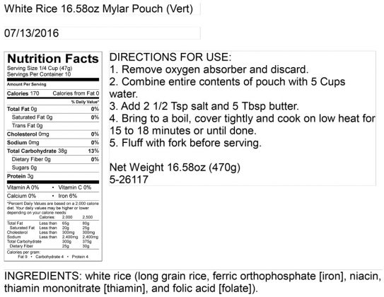 Instant Rice Pouch Nutritional Information