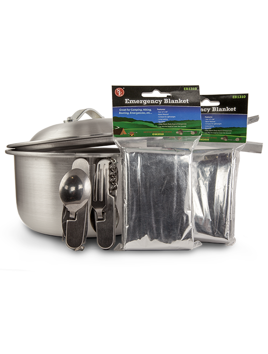 Cooking Pot, Multi-Utensil Tool, and Emergency Blankets