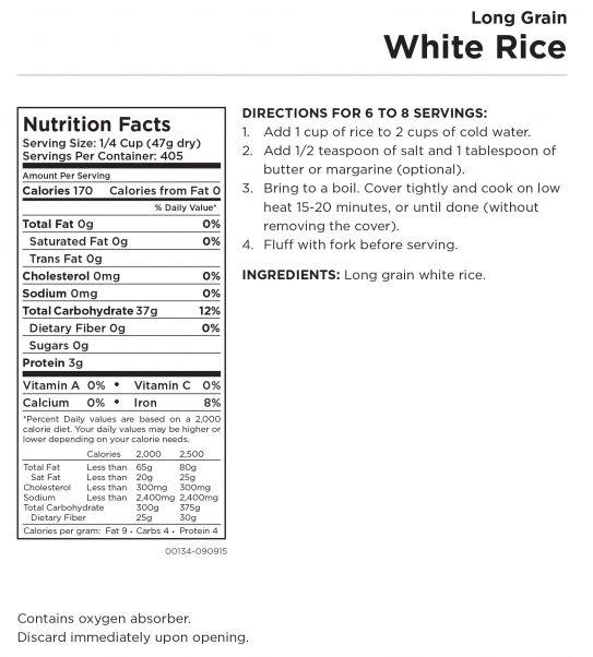 Long Grain White Rice - 6 Gallon Nutritional Information