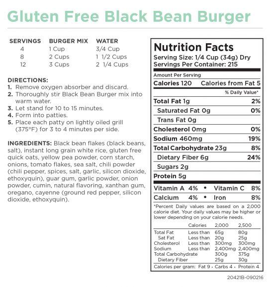 Gluten-Free Black Bean Burger Nutritional Informaiton