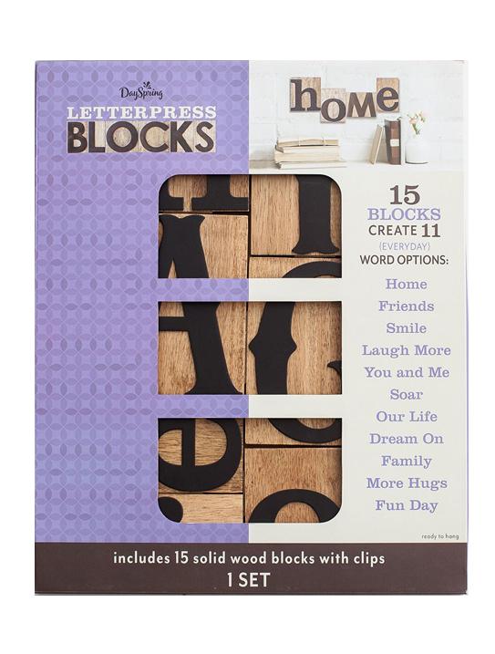 Dayspring Everyday Words - Letterpress Blocks, Set of 15