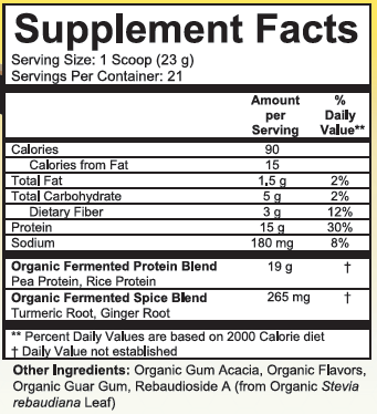 Fermented Protien Supremefood Supplement Facts