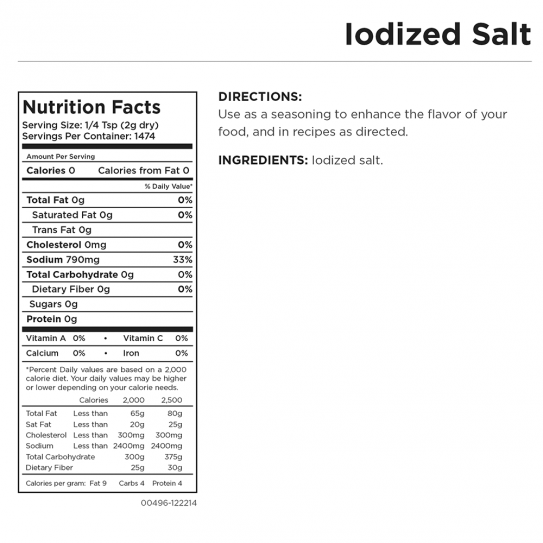 Iodized Salt Can Nutritional Facts