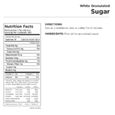 White Granulated Sugar Can Nutritional Facts