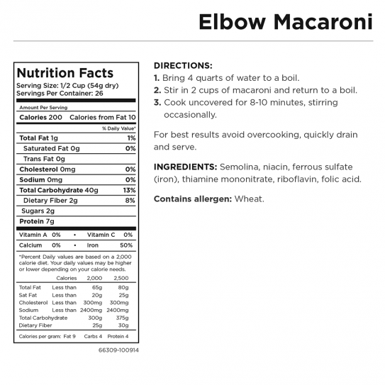 Elbow Macaroni Can Nutritional Facts
