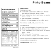 Dried Pinto Beans Can Nutritional Facts