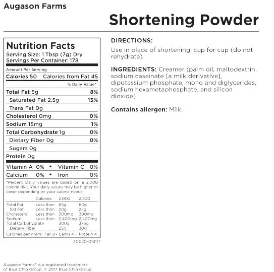 Shortening Powder Can Nutritional Facts