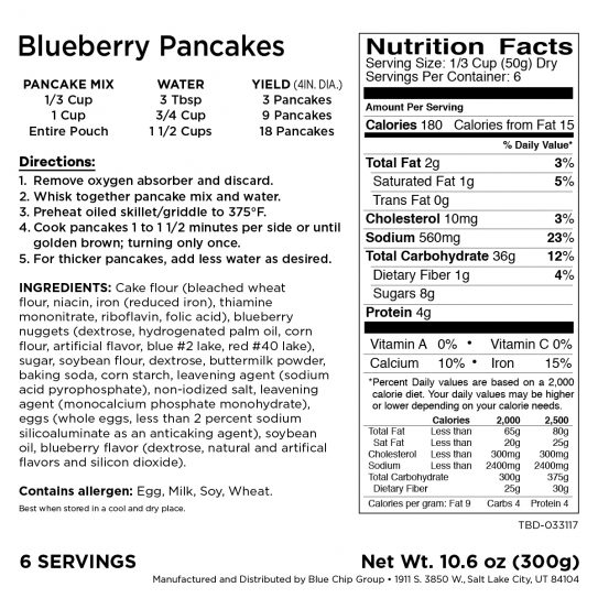 Blueberrey Pancakes Pantry Box Nutritional Facts