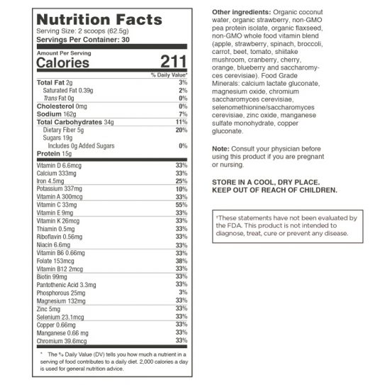 Food For Health Daily Essential Nutrients (Strawberry) Nutritional Information