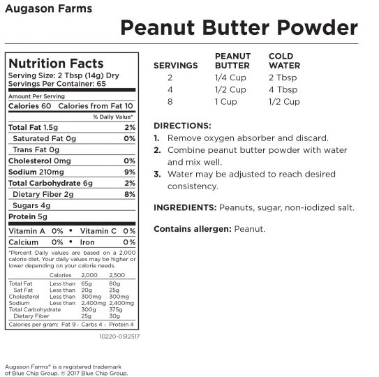Augason Farms® Peanut Butter Powder Nutritional Information