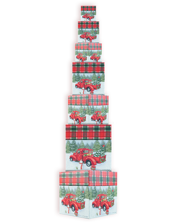 Red Truck 7 Nesting Gift Boxes
