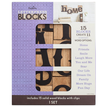 Dayspring Everyday Words – Letterpress Blocks, Set of 15