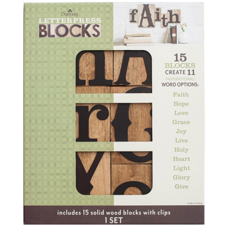 Dayspring Inspirational Words – Letterpress Blocks, Set of 15