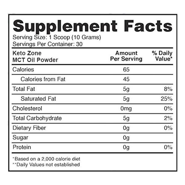 MCT Oil Powder Supplement Facts