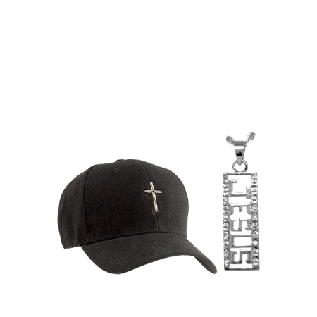 Grandma Char Jesus Necklace w:bonus black hat