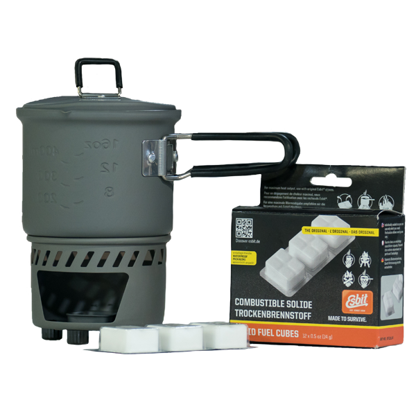 Esbit Solid Fuel Stove+Cookset includes stove & pot WITH 12×14 Solid Fuel