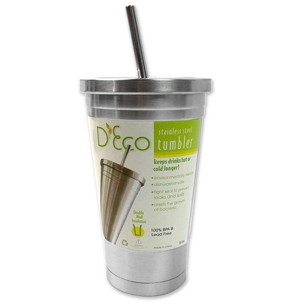 Stainless Steel Tumbler With Lid And Straw Ptl Shopping