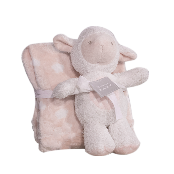 Plush-Toy-Blanket-Lamb-Pink